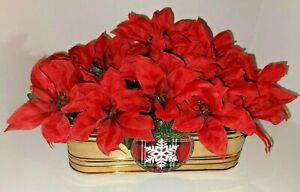 Christmas Decoration, Brass container with poinsettia