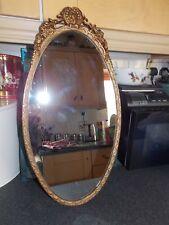 SPECCHIO Ovale Vintage Oro Metallo Cast Telaio 56x30cm TUTTO ORIGINALE