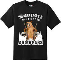 Funny Arm Bears 2nd Amendment Gun America Freedom Gift T Shirt  New Graphic Tee