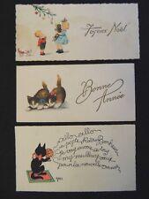 Lot de 3 cartes de Voeux Chat Géo enfant et chien bonne année années 20 - 30
