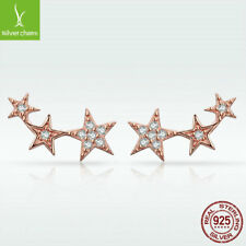 Attractive 925 Sterling Silver Stud Earrings Shining Stars White CZ Lady Jewelry