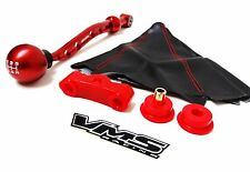 88-00 HONDA CIVIC SOHC RED VMS RACING SHORT SHIFTER BUSHING SHIFT KNOB BOOT KIT