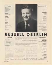 1958 Russell Oberlin Tenor Countertenor Theatre Recordings Photo Booking Ad