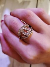 10k Gold Chanel CC Logo Ring Size 6