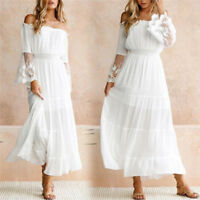 Women Summer Boho Lace Long Maxi Dress Evening Cocktail Party Beach DressesFT