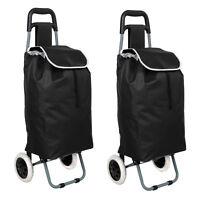2x Einkaufstrolley Schwarz Klappbar | Einkaufs Trolley Faltbar | Einkaufsroller