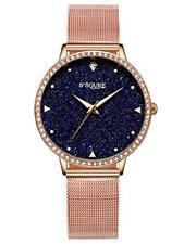 Alienwork Damen-Armbanduhr Quarz Rose-Gold mit Milanaise Mesh-Armband Edelsta...