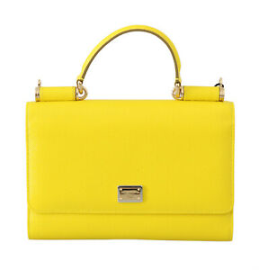 DOLCE & GABBANA Bag Purse Sicily VON Yellow Leather Hand Borse Satchel RRP $1000