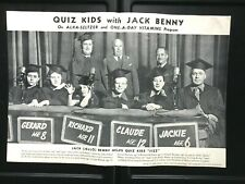 1940 JACK BENNY radio program poster QUIZ KIDS advertising ALKA-SELTER children