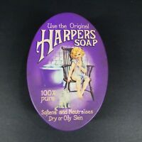Vintage Oval Harpers Soap Tin Container Case Purple Gold England Decorative