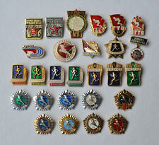 Ready Labor Defense USSR badge Lot 27x Soviet Russian GTO sport pin set vintage