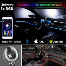 5x RGB LED Car Interior Atmosphere Bluetooth App Control EL Neon Strip Light 6M