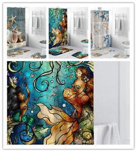 4Pcs Printed Shower Curtain Non-Slip Bathroom Rug Toilet Lid Cover Mat Mermaid