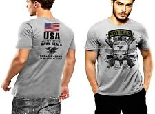 Navy Seals T-Shirt Devgru SOCOM Never Quit Sea Air Land US Flag 2 SIDED PRINT