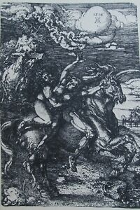 """ALBRECHT DURER AFTER GERMAN ETCHING """"WOMAN ABDUCTED BY MAN ON UNICORN"""" C 1890"""