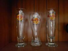 Lot of 3 Vintage Hard Rock Cafe Pilsner Glasses Las Vegas Los Angeles San Diego