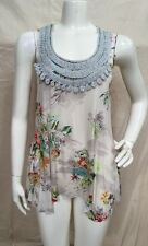 Weston Wear Anthropologie Rayon Flowy A-Line Floral Print Lace Trim Tunic Top M