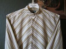 LARGE FITTED 16.5-35 ANDREW FEZZA NO IRON STRIPE BANDED COLLARLESS WESTERN SHIRT