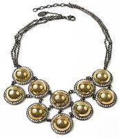 Amrita Singh Gold Gunmetal Vanessa Crystal Bib Necklace NKC 1688 NWT