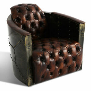 MarquessLife 100% Genunie Leather Handmade Tufted Couch Industrial Single Sofa