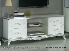 The Daniela Italian White/Silver TV Unit Modern Luxury Italian Furniture