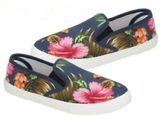 Womens Navy Floral Canvas Plimsolls Slip On Daps Trainers Shoes Size 6/39