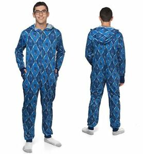 Doctor Who Tardis Sonic Screwdriver Adult One Piece Hooded Pajama Cosplay New