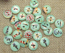 "Lot of 10 BLUE NAUTICAL 2-hole Wooden Buttons 5/8"" (15mm) Scrapbook Craft 4043"