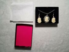 Cameo Madonna and Child Catholic Christian Silvertone Earrings and Necklace Set