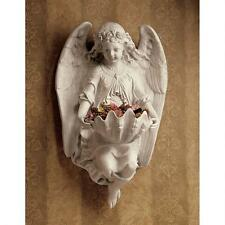 "Victorian Brixton Abbey Angel With Shell Font Design Toscano 17"" Wall Sculpture"