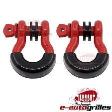"""Red D-Ring (4.75 Ton, 3/4"""", Pair) With Black Isolator"""