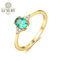 Luxury Green Topaz Gold Plated Solid 925 Sterling Silver Engagement Women Ring