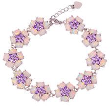 White Fire Opal Amethyst Silver for Women Jewelry Gemstone Chain Bracelet OS580