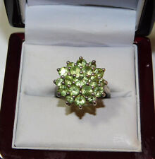 Vtg 925 Sterling Silver Green Peridot Stone Cluster Cocktail sz 9.5 Ring 12b 45