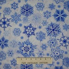 Christmas Fabric - Ice Blue & Silver Metallic Snowflake Timeless Treasures YARD
