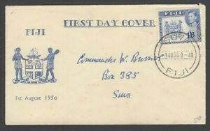 Fiji 1950 KGVI King George VI 1/6 FDC