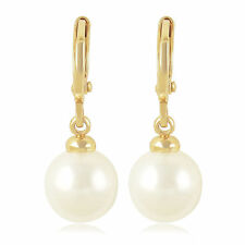 Pretty New Classic 9K Yellow Gold Filled 10mm Pearl Dangle Drop Earrings
