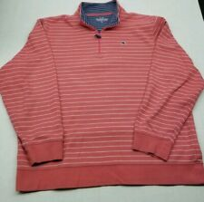 Vineyard Vines Striped 1/4 Zip Long Sleeved Sweater Salmon Navy Blue Cotton