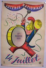 DEROUET-LESACQ-LOTERIE NATIONALE-12ème TRANCHE-AFFICHE ORIGINALE-14 JUILLET-1939
