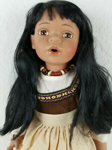 Duck House Native American Indian Porcelian Doll