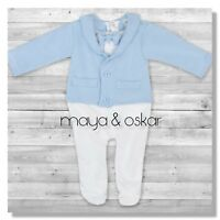 Baby Boy Blue All-in-One Suit Wedding Christening Formal Party Smart Outfit 0-9m