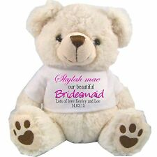 PERSONALISED BRIDESMAID FLOWER GIRL TEDDY BEAR WHITE WEDDING PINK GIFTS