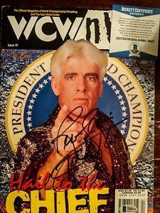 Ric Flair Signed 1999 WCW Official Magazine BAS Beckett Authentication ..