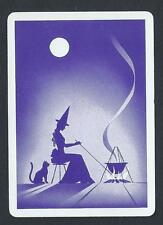 #950.1287 vintage WIDE swap card -MINT- Silhouette Witch with cat & cauldron