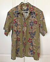 COOKE STREET Honolulu Men's XL Hawaiian Shirt S/S Green Burgundy Gray Hibiscus