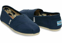 New Authentic TOMS Women's CLASSIC Solid Navy Canvas Slip on flats shoes US Size