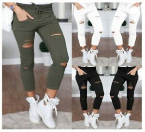 Womens Ripped Denim Stretchy Fit Skinny Jeans Jeggings Ladies Plus Sizes 10 - 24