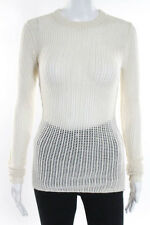 Inhabit Ivory Cashmere Crew Neck Open Knit Sweater Size Small