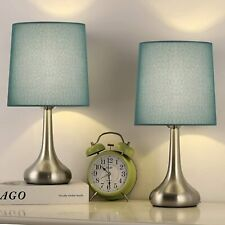 Set of 2 Modern Bedside Lamp Table Desk Lamp with Blue...