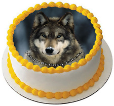 SNOW WOLF 7.5 PREMIUM Edible RICE CARD Cake Topper CAN BE PERSONALISED D2